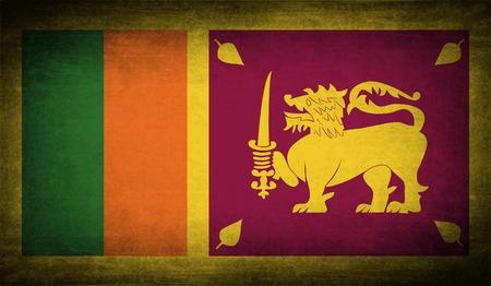 lanka: Flag of Sri Lanka with old texture.  illustration Stock Photo