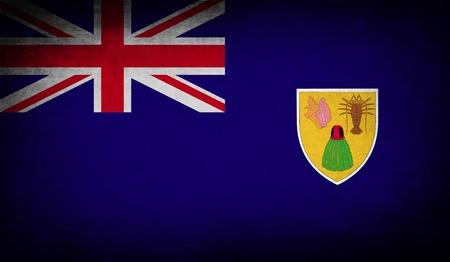 turks: Bandera de Islas Turcas y Caicos con textura de edad. ilustraci�n Foto de archivo