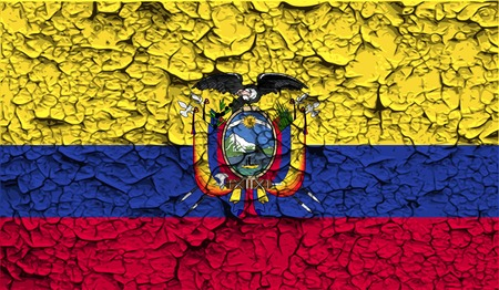 Flag of Ecuador with old texture.  illustration