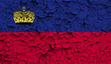 princely: Flag of Liechtenstein with old texture.  illustration
