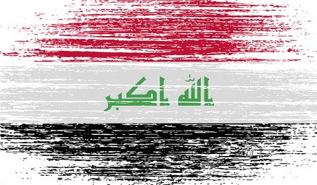 militant: Flag of Iraq with old texture.  illustration