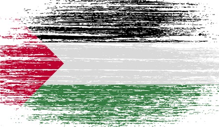 palestine: Flag of Palestine with old texture.  illustration