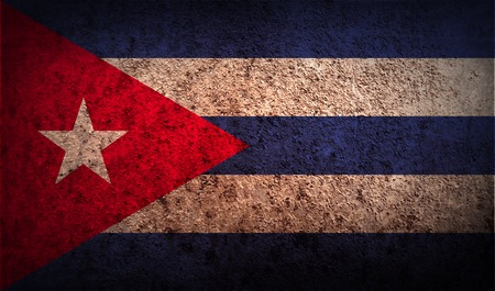 Flag of Cuba with old texture.  illustration Stok Fotoğraf