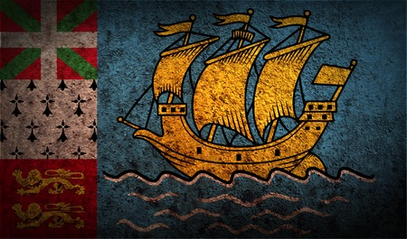 collectivity: Flag of Saint Pierre and Miquelon, France with old texture.  illustration Stock Photo