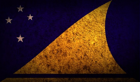 tokelau: Flag of Tokelau with old texture.  illustration Stock Photo