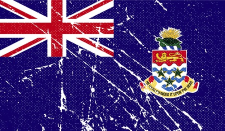 island state: Flag of Cayman Islands with old texture.  illustration Stock Photo