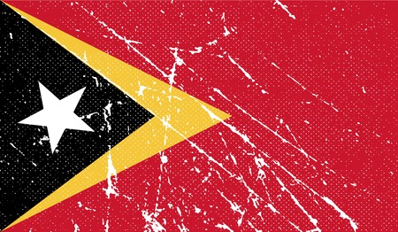 timor: Flag of East Timor with old texture.  illustration Stock Photo