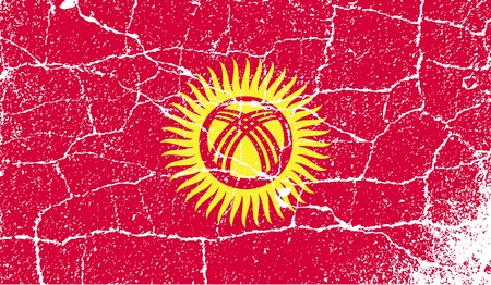 kyrgyzstan: Flag of Kyrgyzstan with old texture.  illustration Stock Photo