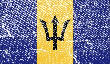 barbados: Flag of Barbados with old texture.  illustration