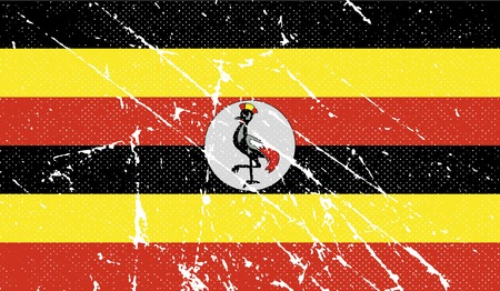 ugandan: Flag of Uganda with old texture.  illustration Stock Photo