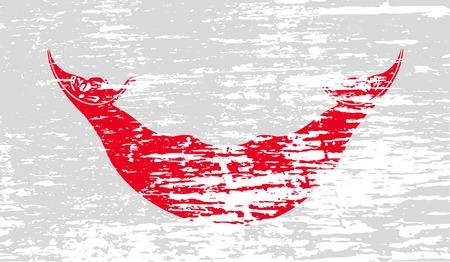 rapa nui: Bandera de Pascua Rapa Nui, CHILE con textura de edad. ilustración