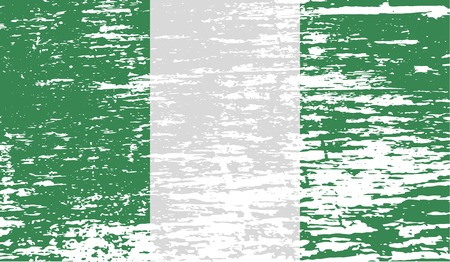 anthem: Flag of Nigeria with old texture.  illustration Stock Photo