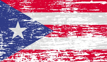 rico: Flag of Puerto Rico with old texture.  illustration