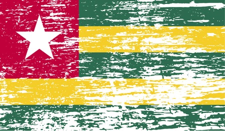 togo: Flag of Togo with old texture.  illustration