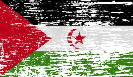 Flag of Western Sahara with old texture.  illustration