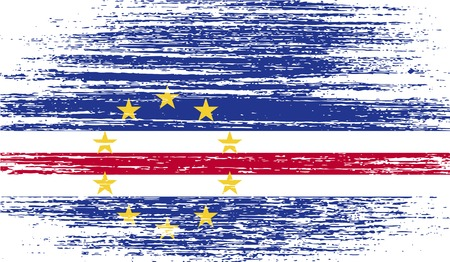 Flag of Cape Verde with old texture.  illustration
