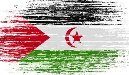 landlocked country: Flag of Western Sahara with old texture.  illustration