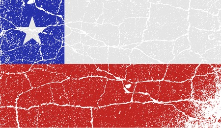 Flag of Chile with old texture.  illustration Фото со стока