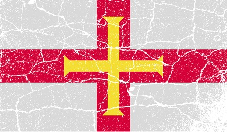 guernsey: Flag of Guernsey with old texture.  illustration Stock Photo