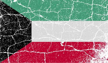 spangled: Flag of Kuwait with old texture.  illustration