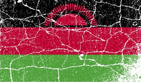 malawi: Flag of Malawi with old texture.  illustration