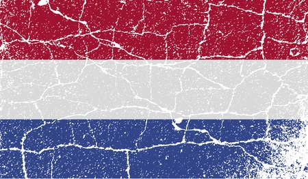 unitary: Flag of Netherlands with old texture.  illustration