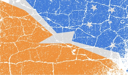 tierra: Flag of Tierra del Fuego Province with old texture.  illustration