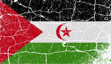 landlocked: Flag of Western Sahara with old texture.  illustration