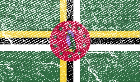 dominica: Flag of Dominica with old texture.  illustration Stock Photo