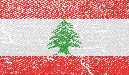 lebanon: Flag of Lebanon with old texture.  illustration