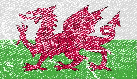 Flag of Wales with old texture.  illustration illustration