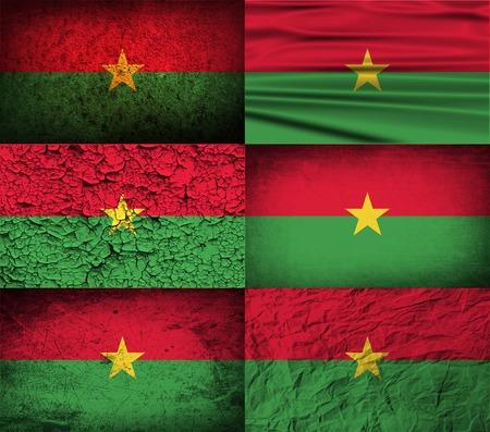 burkina faso: Flag of Burkina Faso with old texture.  illustration