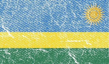 rwanda: Flag of Rwanda with old texture.  illustration