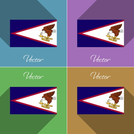 Flags of American Samoa. Set of colors flat design and long shadows.  illustration
