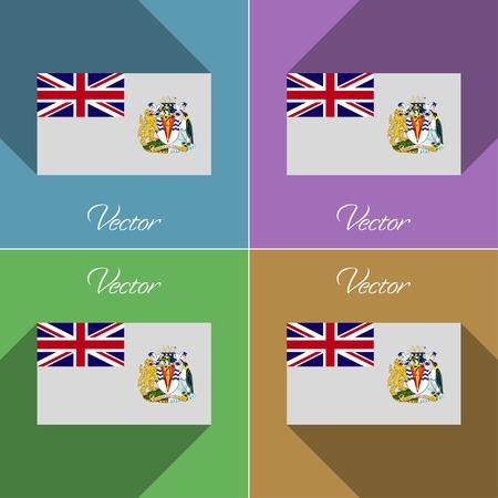the antarctic: Flags of British Antarctic Territory. Set of colors flat design and long shadows.  illustration