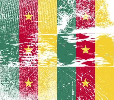 cameroon: Flag of Cameroon with old texture.  illustration