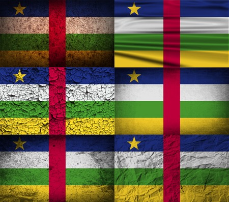central african republic: Flag of Central African Republic with old texture.  illustration