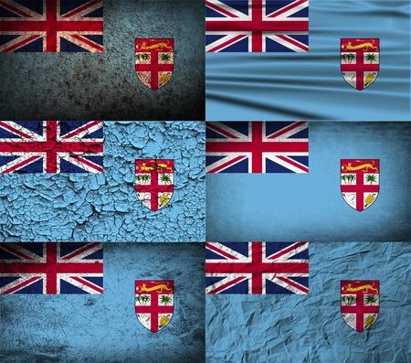 fiji: Flag of Fiji with old texture.  illustration