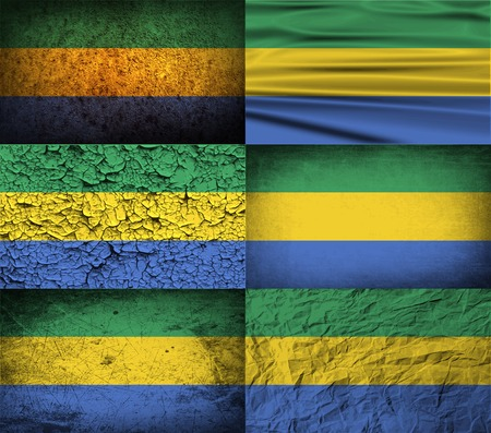 gabon: Flag of Gabon with old texture.  illustration