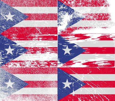 bandera de puerto rico: Bandera de Puerto Rico con textura de edad. ilustración Foto de archivo
