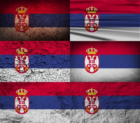 serbia: Flag of Serbia with old texture.  illustration