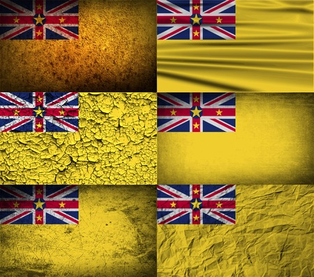 niue: Flag of Niue with old texture.  illustration