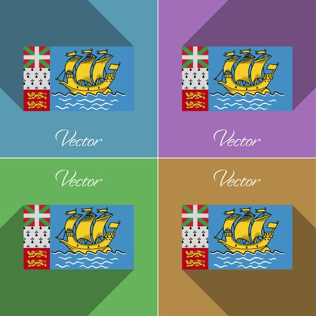collectivity: Flags of Saint Pierre and Miquelon. Set of colors flat design and long shadows.  illustration