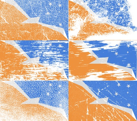 fuego: Flag of Tierra del Fuego Province with old texture.  illustration