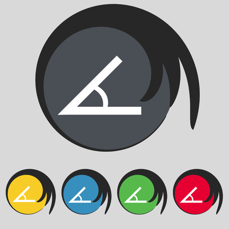 45: Angle 45 degrees icon sign. Symbol on five colored buttons. Vector illustration