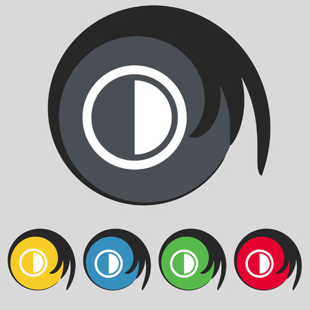 contrast: contrast icon sign. Symbol on five colored buttons. Vector illustration