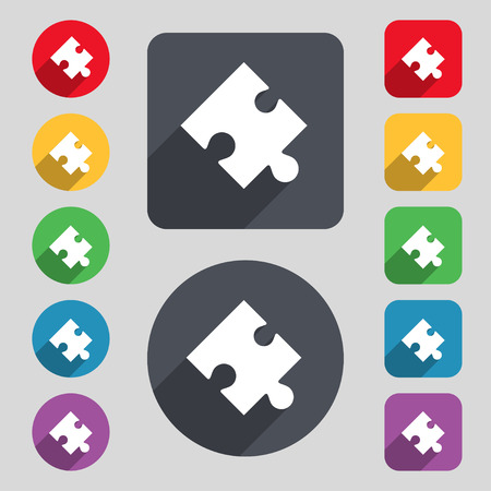 puzzle corners: Puzzle piece icon sign. A set of 12 colored buttons and a long shadow. Flat design. Vector