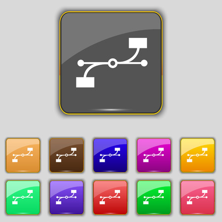 Bezier Curve icon sign. Set with eleven colored buttons for your site. Vector illustration