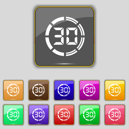 corner clock: 30 second stopwatch icon sign. Set with eleven colored buttons for your site. Vector illustration