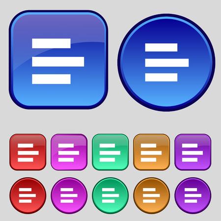 medium group of object: Left-aligned icon sign. A set of twelve vintage buttons for your design. Vector illustration Illustration